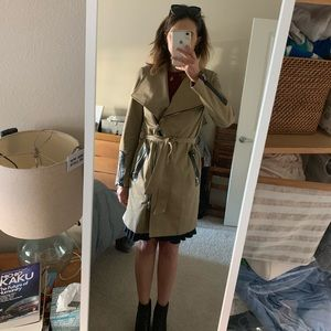 Mackage Trench Coat with Leather Details SM
